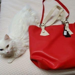 Pulicati red Italian leather tote shopper bag